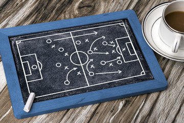 soccer tactics on blackboard
