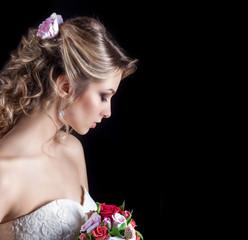 happy smiling girls white wedding dress with wedding bouquet