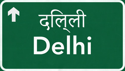 Delhi India Highway Road Sign