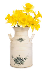 daffodils in a shabby chic vase