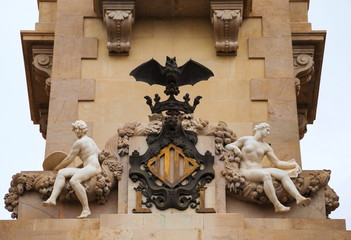 Allegorical statues that adorn  historic building in Valencia