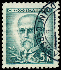 Stamp printed in Czechoslovakia, shows  President Masaryk