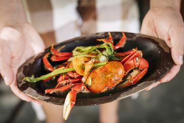Boiled crabs served in Pernambuco, Brazil.