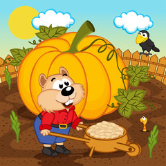 hamster with pumpkin seeds - vector illustration, eps