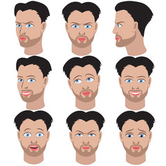Set of variation of emotions of the same guy with beard