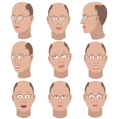 Set of variation of emotions of the same bald guy with glasses