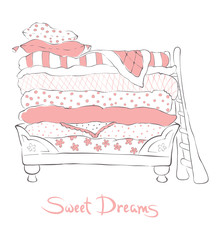Fairytale soft bed for girls - vector illustration