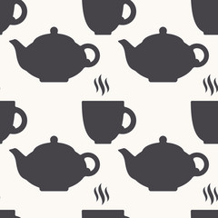 Silhouette of teapot and cup. Tea seamless pattern