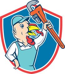 Turkey Plumber Monkey Wrench Shield Cartoon