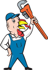 Turkey Plumber Monkey Wrench Cartoon