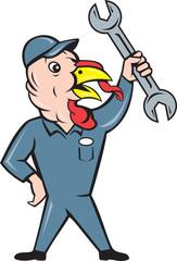 Turkey Mechanic Spanner Isolated Cartoon