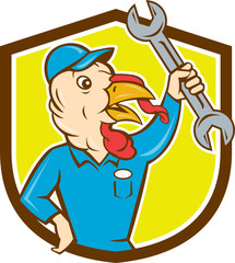 Turkey Mechanic Spanner Shield Cartoon