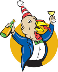 Turkey Celebrating Wine Party Hat Cartoon