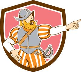 Spanish Conquistador Pointing Cartoon Shield