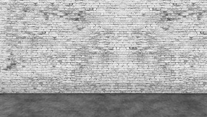 Long empty white brick wall and foreground