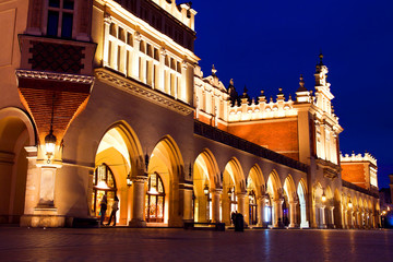 Sukiennice in Krakow at night