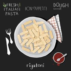 Rigatoni in plate, italian pasta.Print