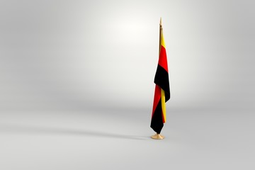 Germany flag on a brown and golden wooden mast 3d illustration
