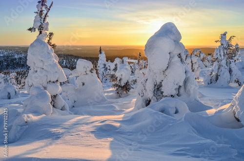 Staande foto Scandinavië Sunset in mountain