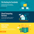 File hosting flat banners set - 79702523