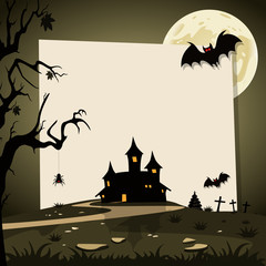 Halloween background with autumn landscape