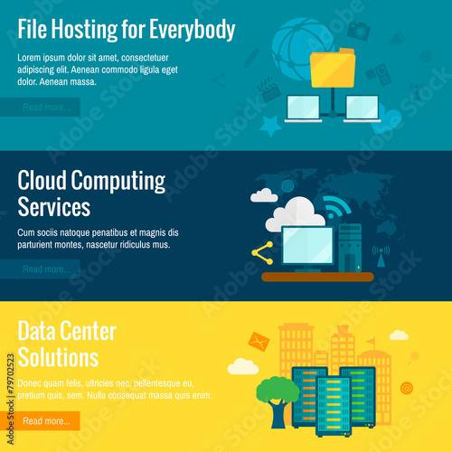 File hosting flat banners set - 79702523