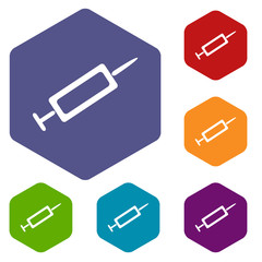 Syringe rhombus icons
