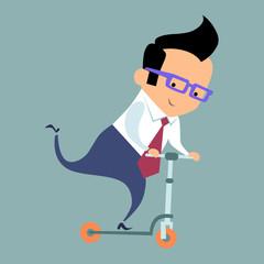 Businessman riding a scooter
