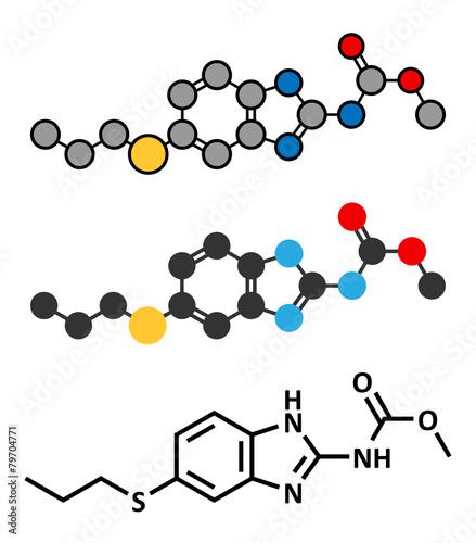 Albendazole anthelmintic drug molecule.  - 79704771