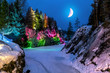 Leinwanddruck Bild - Evening lights in the marble quarry Ruskeala in Karelia in the w