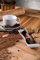 Organic coffee on wooden table, home concept