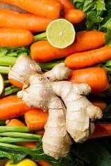 Carrots, celery, ginger and lemon