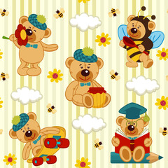 seamless pattern with teddy bear - vector illustration, eps