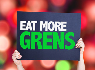 Eat more Greens card with colorful background