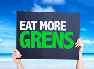 Eat more Greens card with nature background
