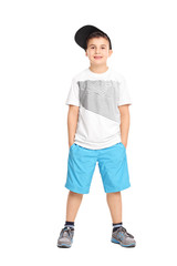 Cool little boy in trendy clothes