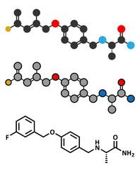 Safinamide Parkinson's disease drug molecule.