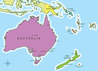 Oceania map countries and cities