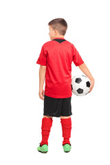 Rear view shot of a junior soccer player holding a ball