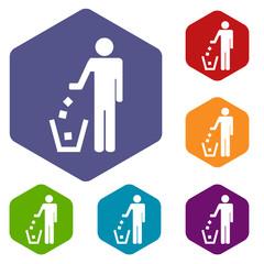 Trash rhombus icons