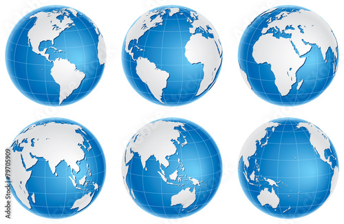 Fototapeta Globes blue set