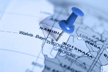 Location Namibia. Blue pin on the map.