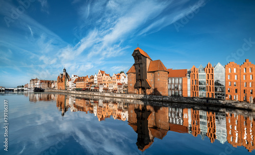 Fotobehang Oost Europa Cityscape of Gdansk, view across the river