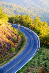 Beautiful Mountain Road with sunlight, Curve road