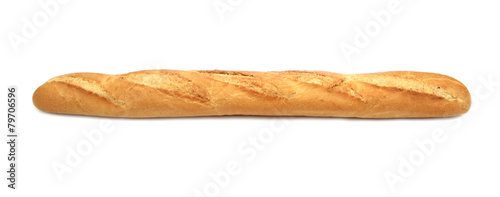 Fotobehang Bakkerij Baguette on white background
