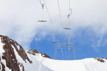Empty ski tow lift