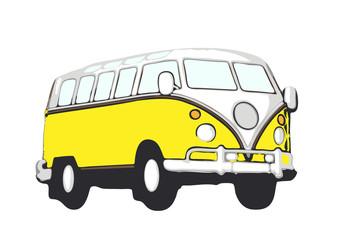 gelber vw bus hippie