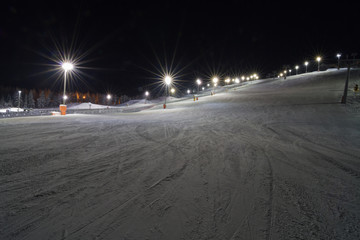 Skiing at night in Levi, Finland