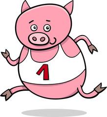 running piglet cartoon illustration