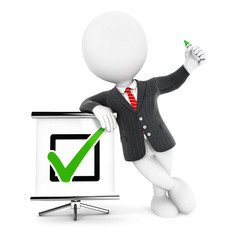 3d white people businessman positive check